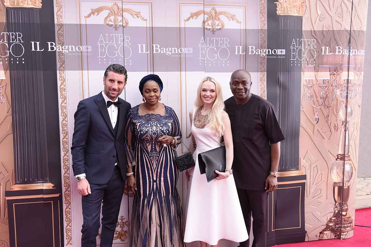 L-R Davide Doro, CEO Alchymia, Bola Shagaya, Businesswoman, Julia D. Lantieri, CEO, Alter Ego Project Group and Michael Owolabi, CEO, IL Bagno during the grand opening of Alter Ego Priva